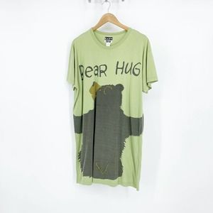 Vintage Lazy One Bear Hug Sleep Shirt Green XL